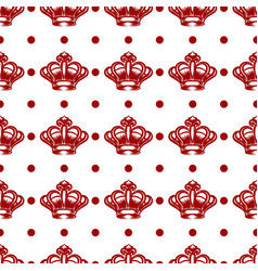 Royal seamless pattern with red crowns vector