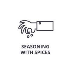 seasoning with spices line icon outline sign vector image