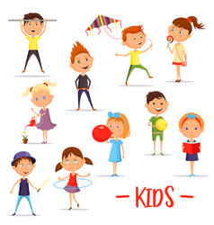 set of isolated children or kids at their activity vector image