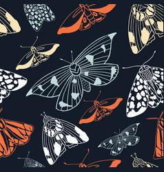 summer moth seamless pattern vector image