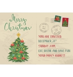 Vintage Christmas Invitation with Postage Stamps vector image