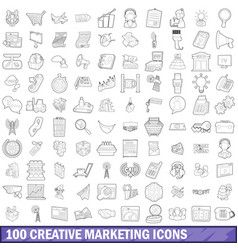 100 creative marketing icons set outline style vector