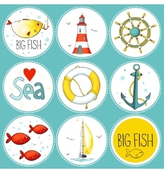 Sea set of 9 nautical elements in a circle shape vector