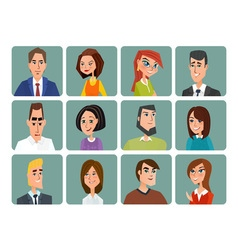 Set of avatar icons Business cartoon concept vector image