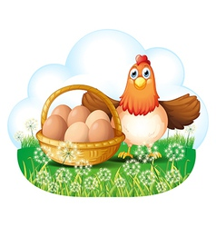 A hen with eggs in a basket vector image