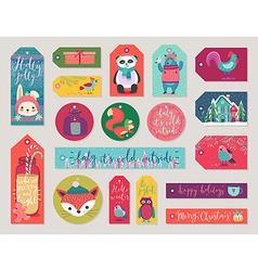 Christmas gift tags set hand drawn style vector