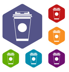 Paper coffee cup icons set vector