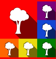 Tree sign   set of icons with vector