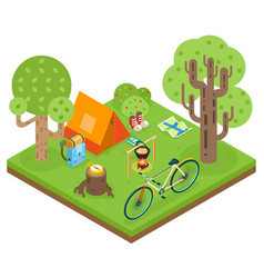 Tent camp travel isometric 3d icon forest wood vector