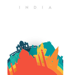 Travel india 3d paper cut world landmarks vector