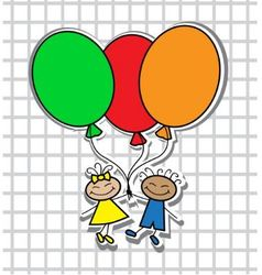 cartoon kids with balloons vector image