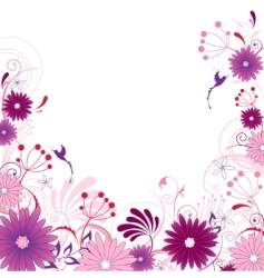 Violet floral background with ornament vector