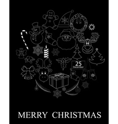 black Christmas symbols vector image