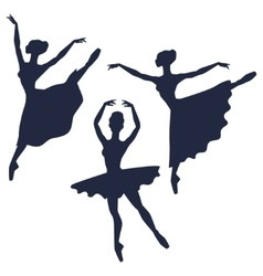 Set of ballerinas silhouettes on white background vector