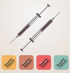 Insulin syringe set fadding shadow effect color vector