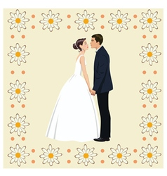 Wedding couple in frame of flowers vector