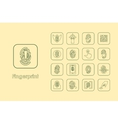 Set of fingerprint simple icons vector