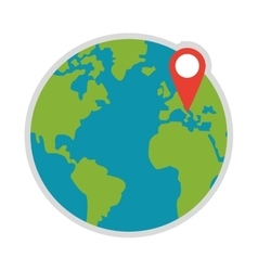 Earth globe with gps pin icon vector