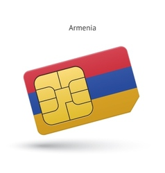 Armenia mobile phone sim card with flag vector