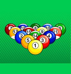 billiard balls pop art style vector image