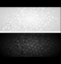 black and grey banners with squares vector image vector image