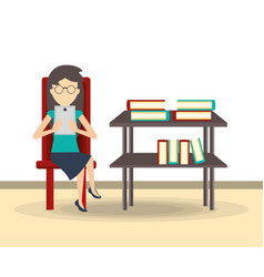 business woman reading on a tablet vector image