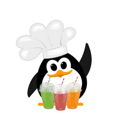 colorful image of a small cute penguin in a bell vector image