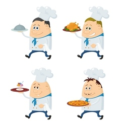 Cooks with trays set vector image