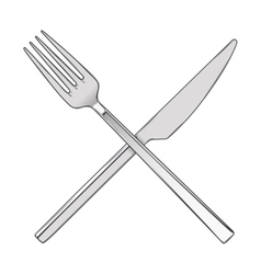 Crossed Fork and Knife vector image