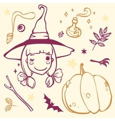 Cute witch with halloween stuff pumpkin bat potion vector