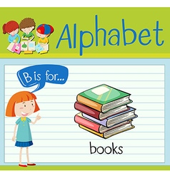Flashcard letter B is for books vector image vector image