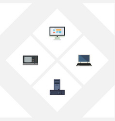 Flat icon computer set of display notebook vector