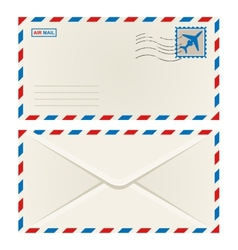 Front and back of an airmail envelope vector