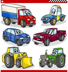 funny cartoon vehicles and cars set vector image vector image