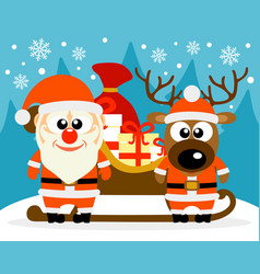happy new year card with funny santa claus and vector image
