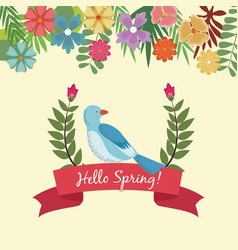 Hello spring lettering hand text with a bird on a vector