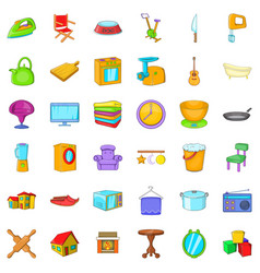 Home icons set cartoon style vector