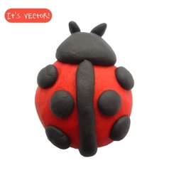 Icon of plasticine ladybug vector image