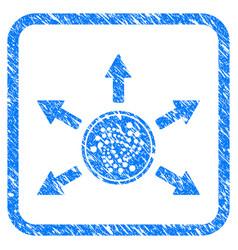 Iota coin spend arrows framed stamp vector