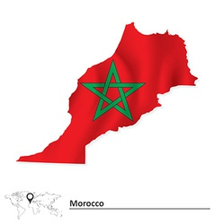 Map of morocco with flag vector