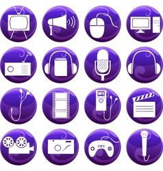 media icons on buttons vector image vector image