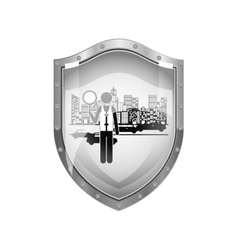 Metallic shield of traffic guard in city with cars vector