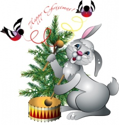 new years rabbit with drum vector image vector image