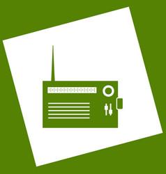 Radio sign white icon vector