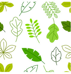 Seamless floral pattern with stylized green leaves vector