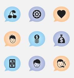 set of 9 editable casino icons includes symbols vector image