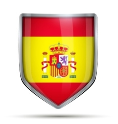 Shield with flag spain vector