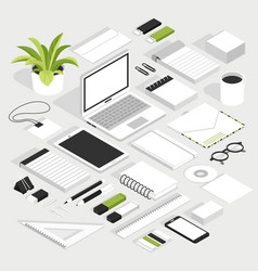 stationary isometric white set vector image vector image