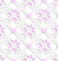 White perforated ornament layered with pink dots vector