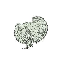 Wild turkey side mono line vector